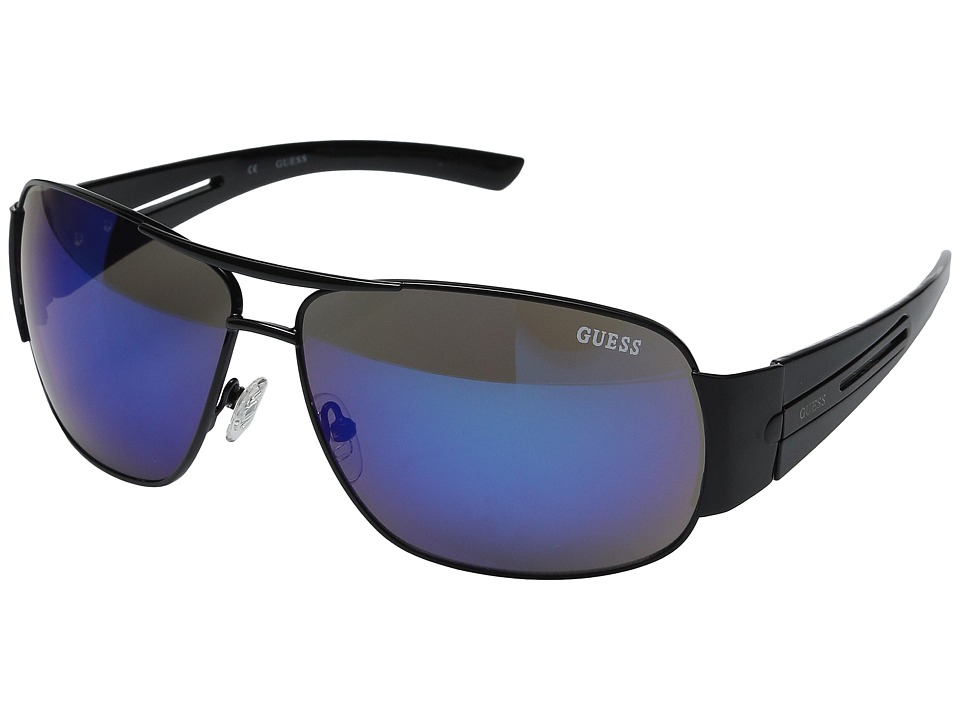 GUESS - GF0143 (Black/Blue Mirror Lens) Fashion Sunglasses
