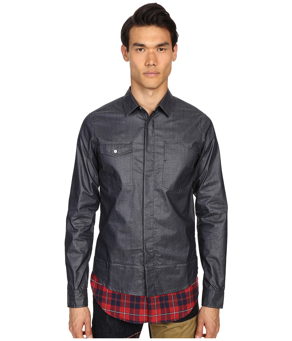 Mostly Heard Rarely Seen - Waxed Denim Shirt (Dark Indigo) Men's Clothing