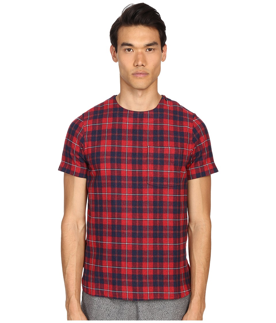 Mostly Heard Rarely Seen - Plaid Woven Tee (Red Plaid) Men's T Shirt