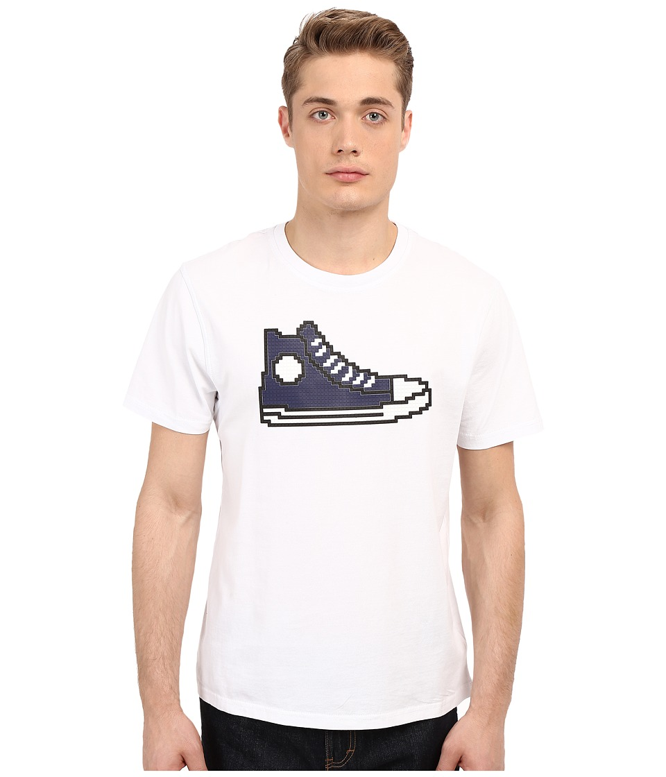 Mostly Heard Rarely Seen - Navy Hi-Top Sneaker Nanoblock Tee (White) Men's T Shirt