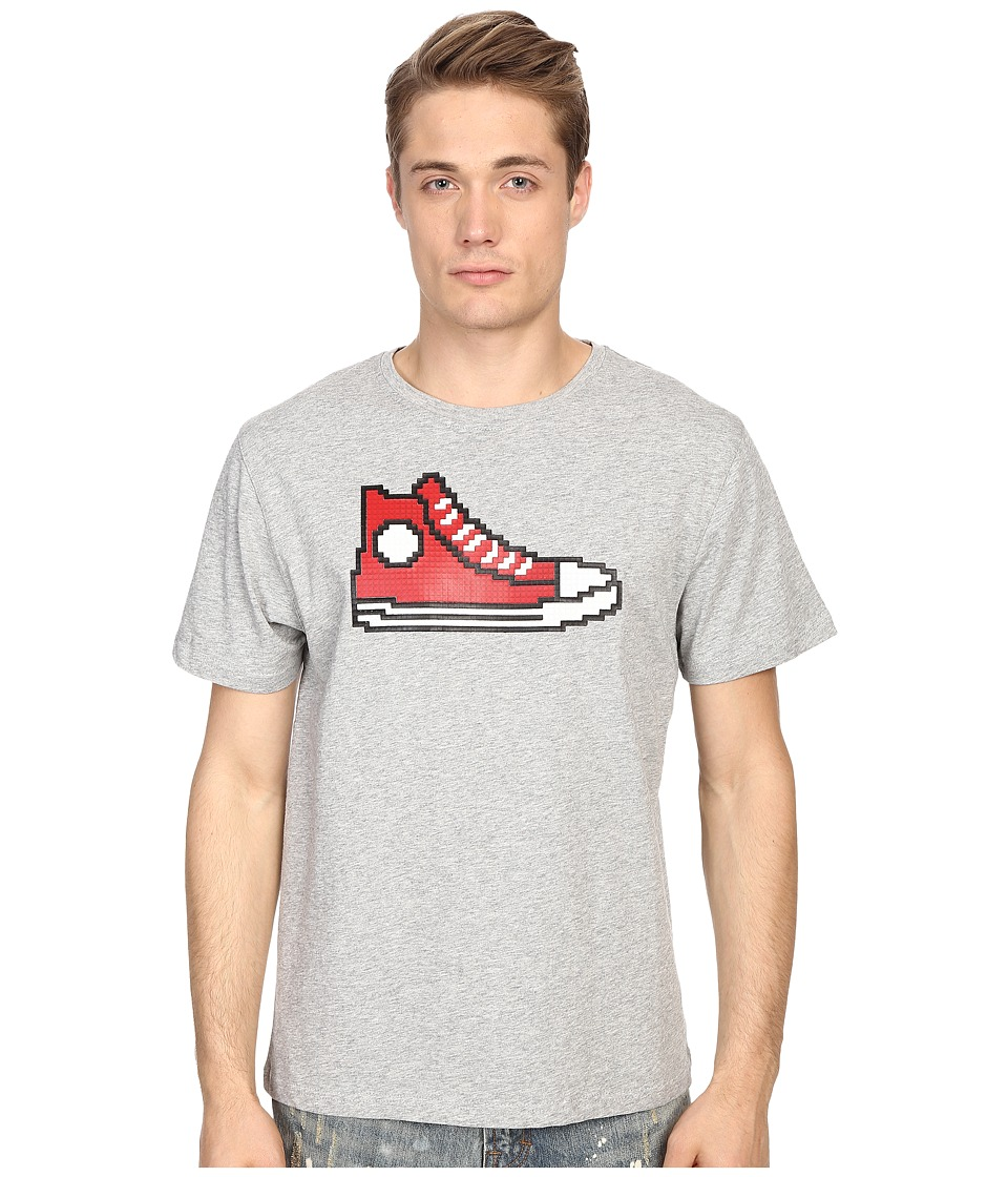Mostly Heard Rarely Seen - Red Hi-Top Sneaker Nanoblock Tee (Heather Grey) Men's T Shirt