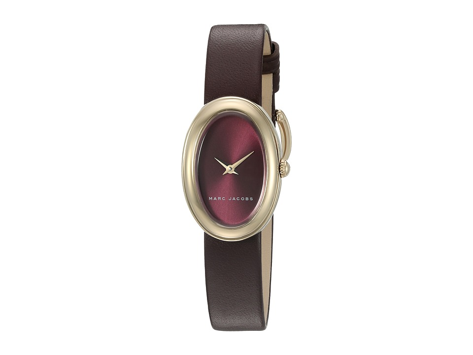 Marc Jacobs - Oval - MJ1456 (Oxblood Strap/Gold Plated Case) Watches