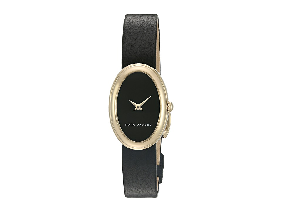 Marc Jacobs - Oval - MJ1454 (Black Strap/Gold Plated Case) Watches