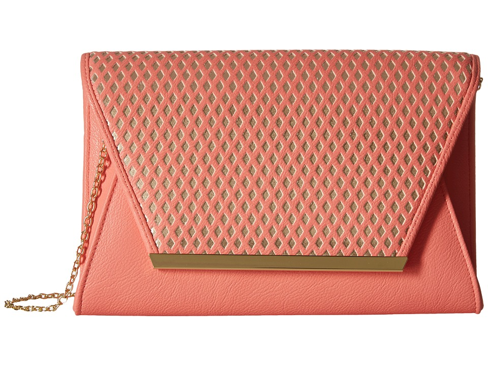 Jessica McClintock - Rider Perforated Envelope Clutch (Coral/Gold) Clutch Handbags
