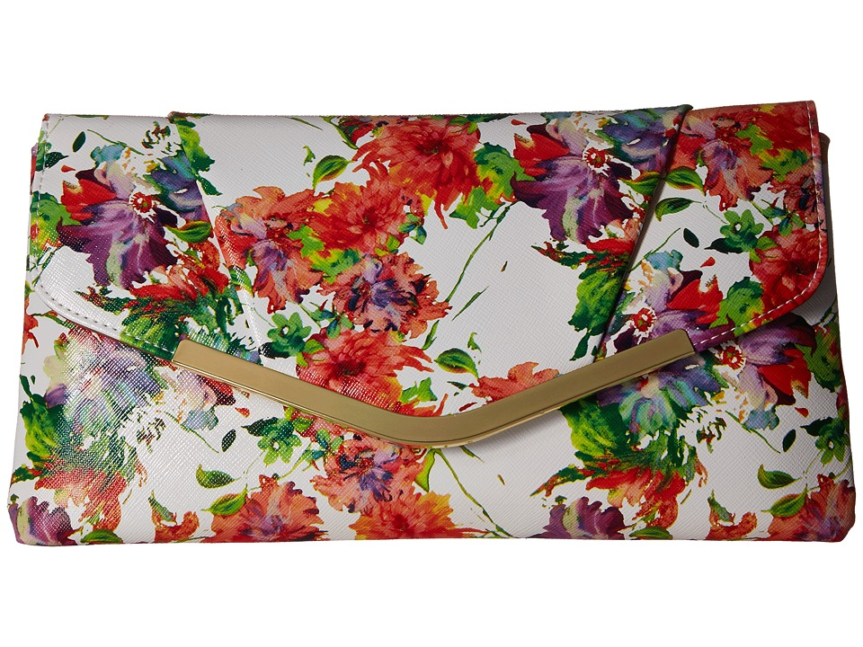Jessica McClintock - Arielle Envelope Clutch (White Floral) Clutch Handbags