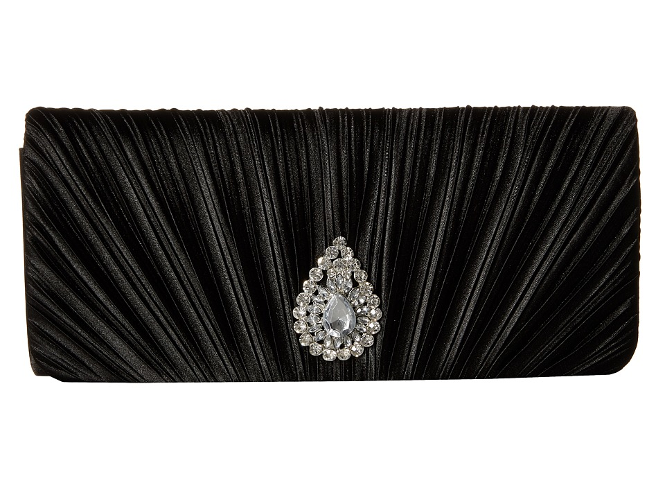 Jessica McClintock - Maren Satin Clutch (Black) Clutch Handbags