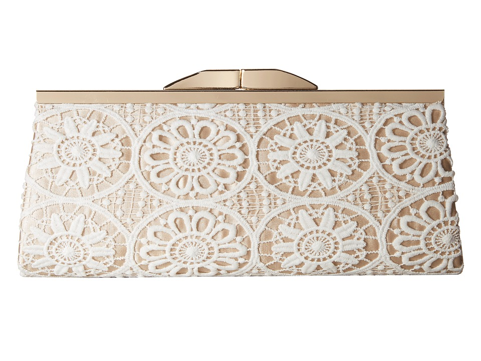Jessica McClintock - Sloan Crochet Framed Clutch (White/Champagne) Clutch Handbags