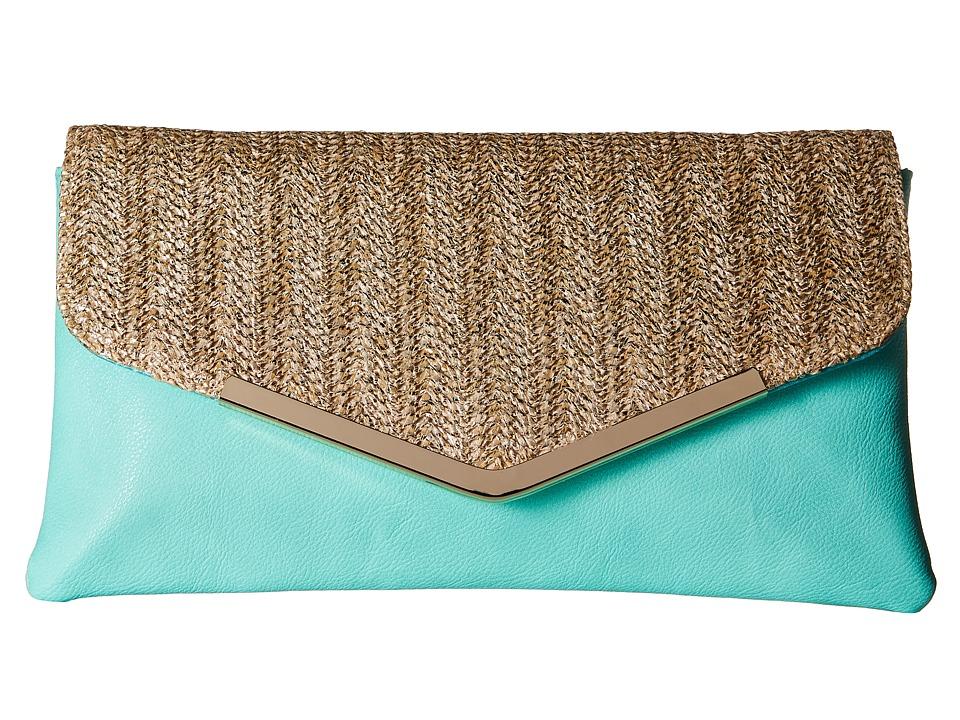 Jessica McClintock - Arielle Straw Envelope Clutch (Mint) Clutch Handbags