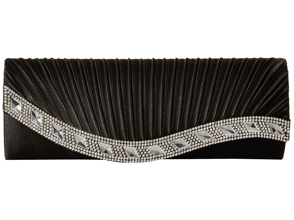Jessica McClintock - Lynn Satin Clutch (Black) Clutch Handbags