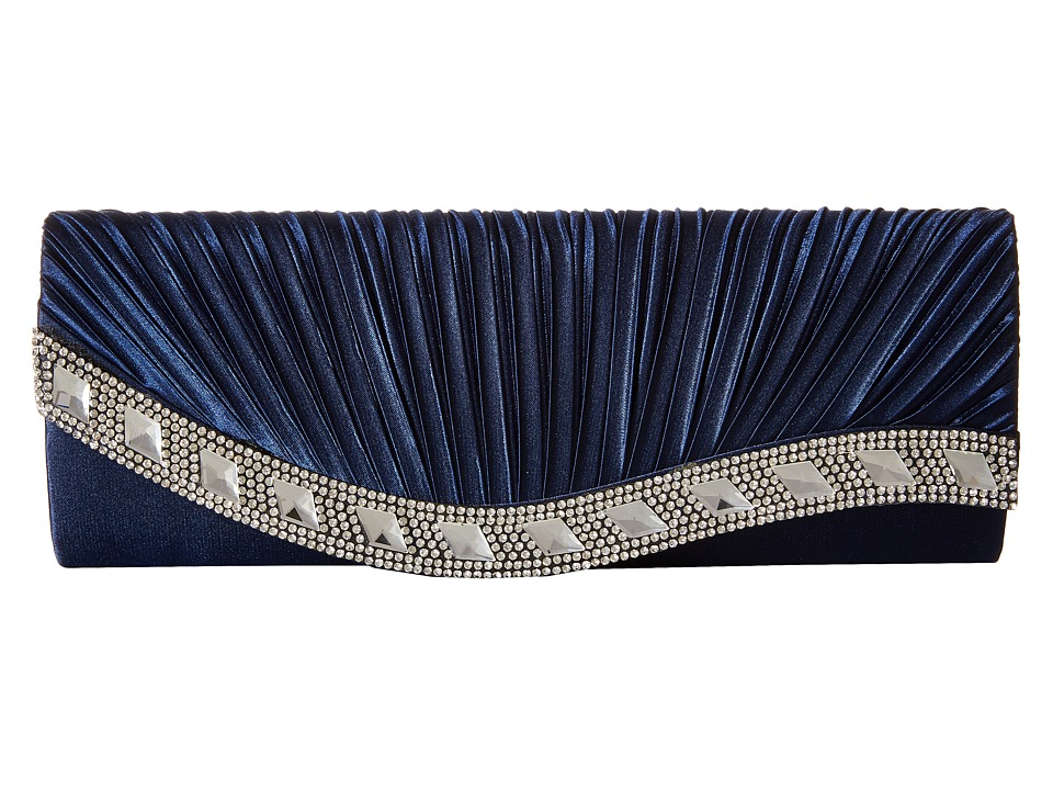 Jessica McClintock - Lynn Satin Clutch (Navy) Clutch Handbags