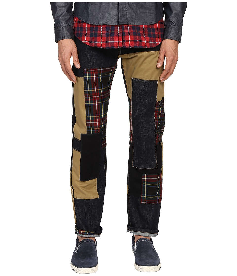 Mostly Heard Rarely Seen - Patchwork Straight-Fit Denim (Indigo/Red Plaid) Men's Jeans