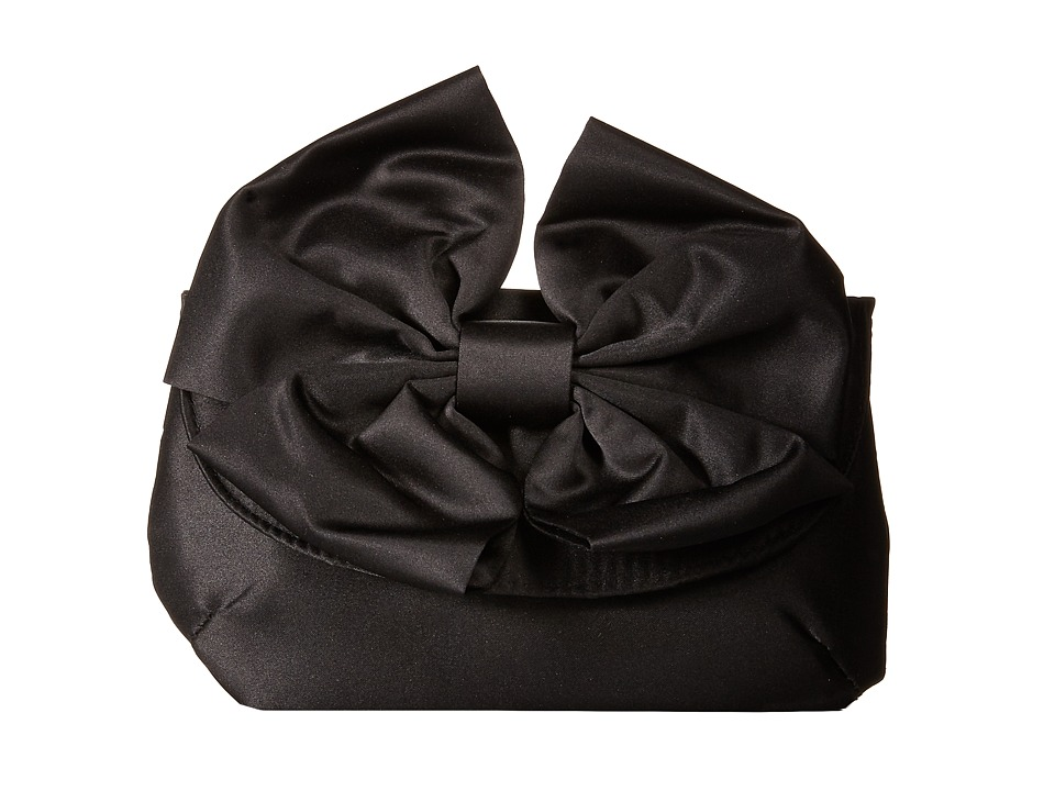Jessica McClintock - Bow Satin Clutch (Black) Clutch Handbags
