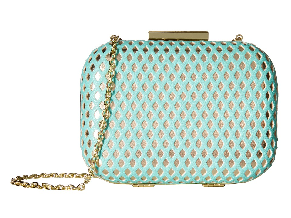 Jessica McClintock - Roxi Perforated Minaudiere (Mint/Gold) Handbags