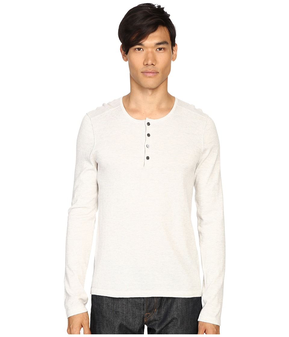 Vince - Sporty Jaspe Mix-Stitch Henley (Heather White) Men's Sweater