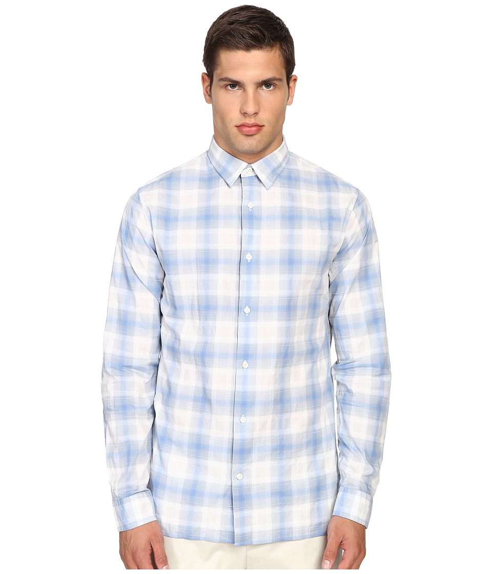 Vince - Cotton-Linen Square Hem Long Sleeve Melrose Shirt (White/Light Blue) Men's Clothing