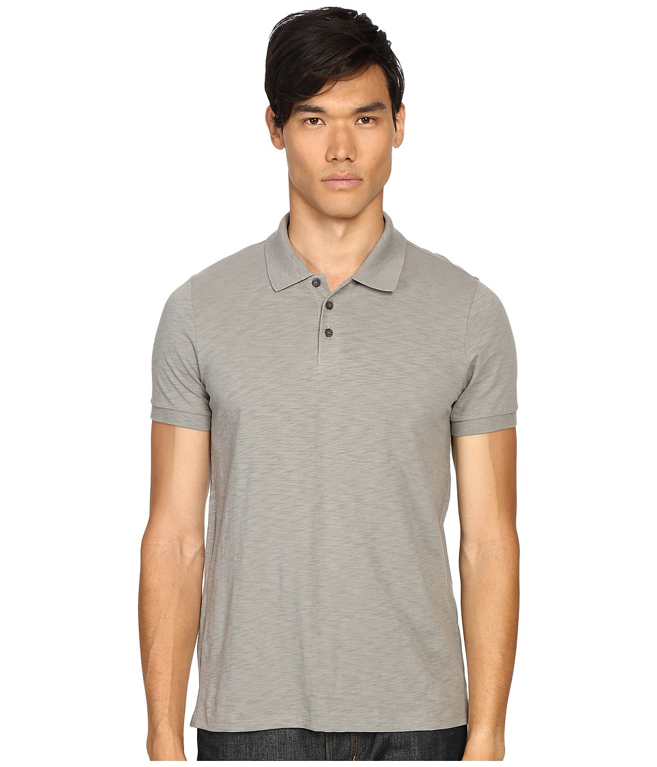 Vince - Slub Cotton Short Sleeve Classic Polo (Leaden Green) Men's Short Sleeve Pullover