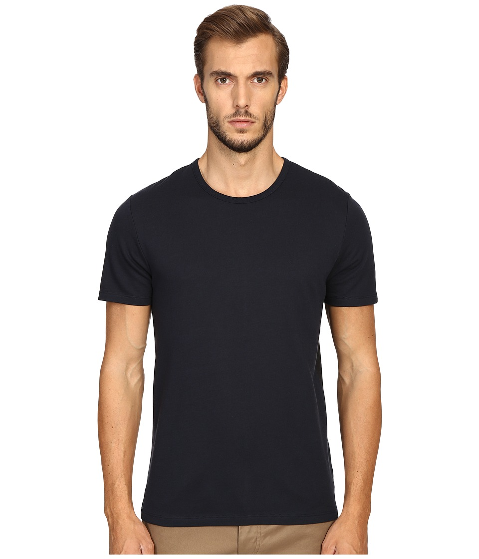 Vince - Pima Modal Color Block Short Sleeve Crew (Coastal Blue) Men's Clothing