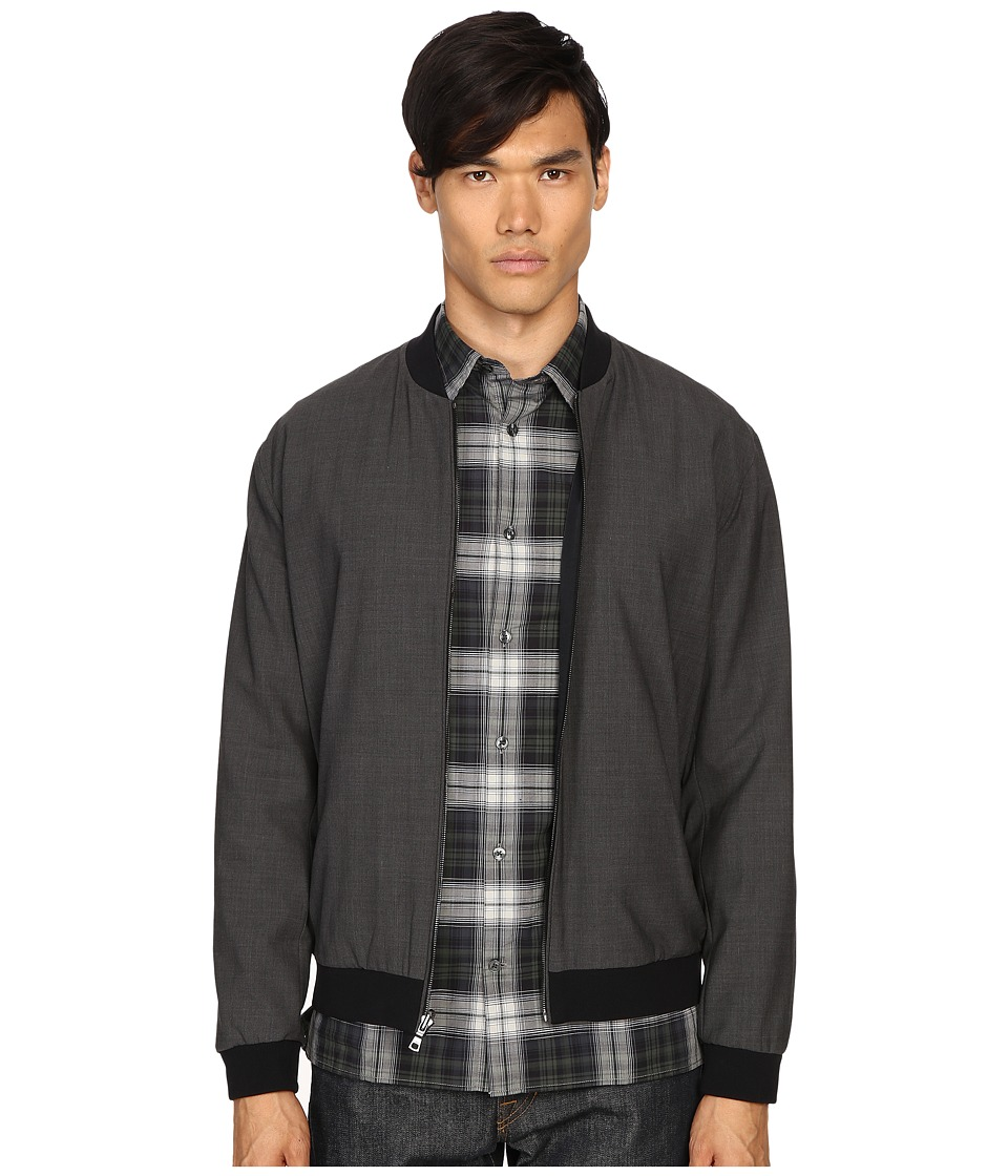 Vince - Worsted Wool Reversible Bomber Jacket (Heather Steel/Black) Men's Coat