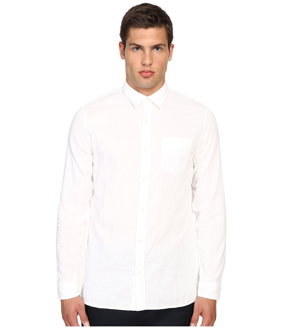 Vince - Double Weave Square Hem Long Sleeve Melrose w/ Pocket (White/White) Men's Clothing