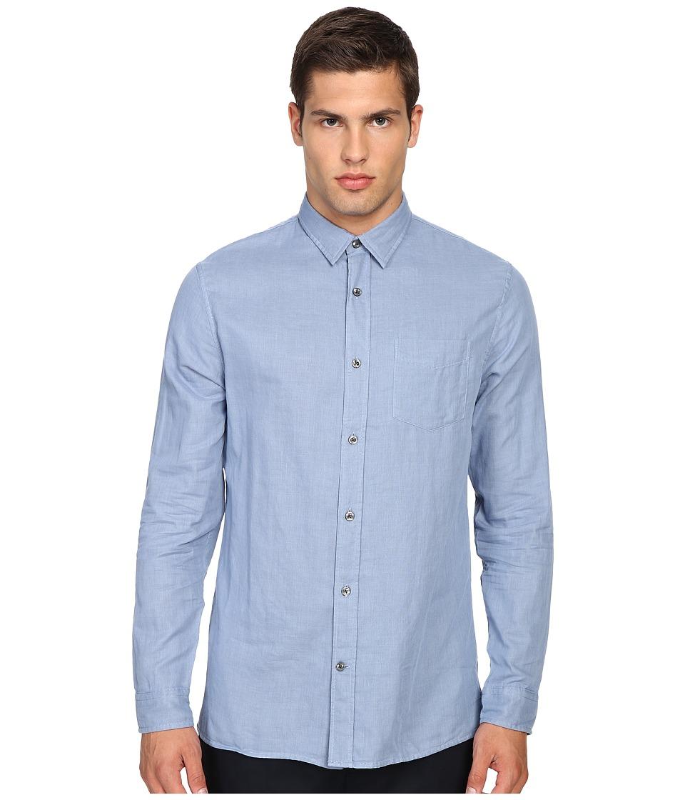 Vince - Double Weave Square Hem Long Sleeve Melrose w/ Pocket (Infinity Blue/Heather Cinder) Men's Clothing