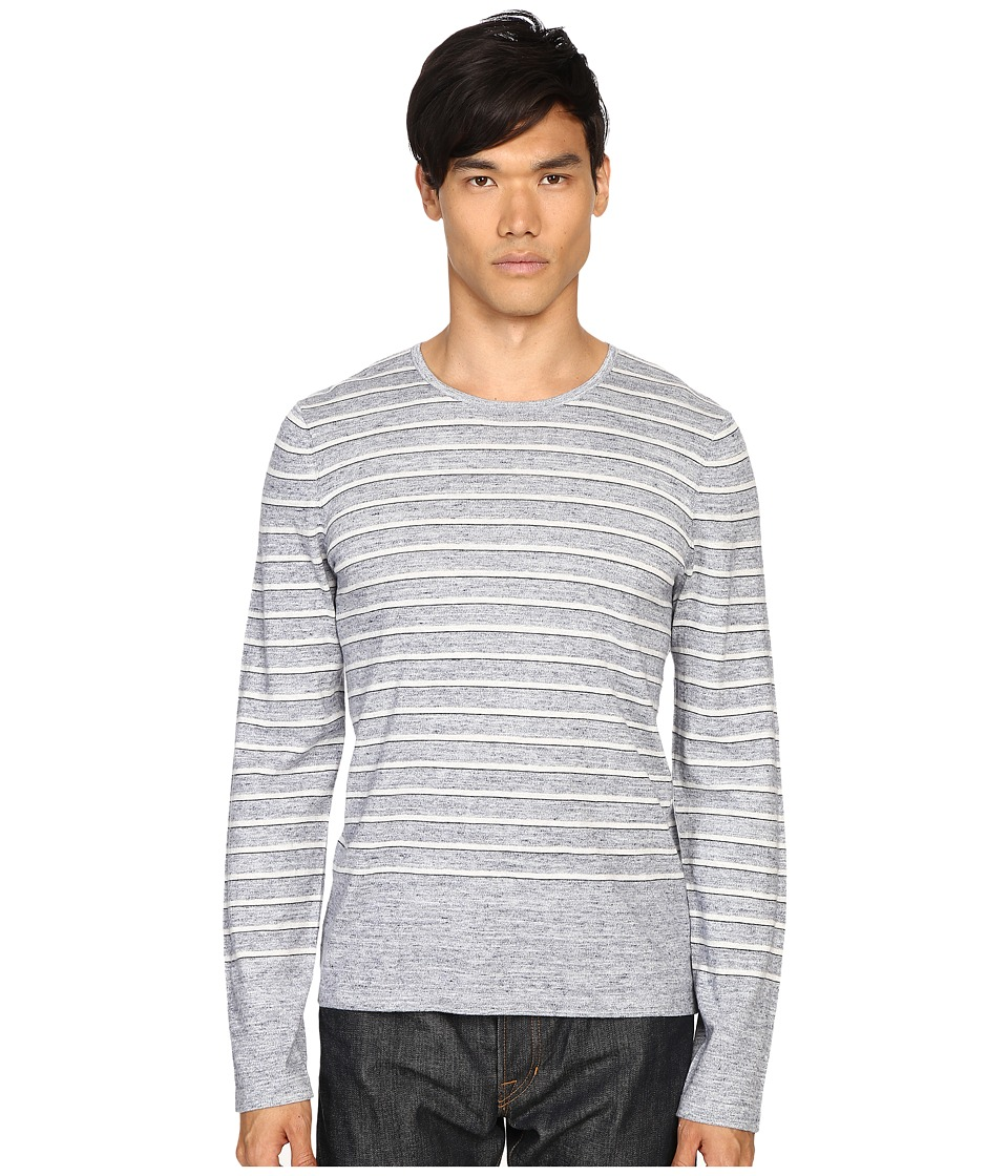 Vince - Sporty Jaspe Striped Crew Neck (Heather Herring) Men's Sweater
