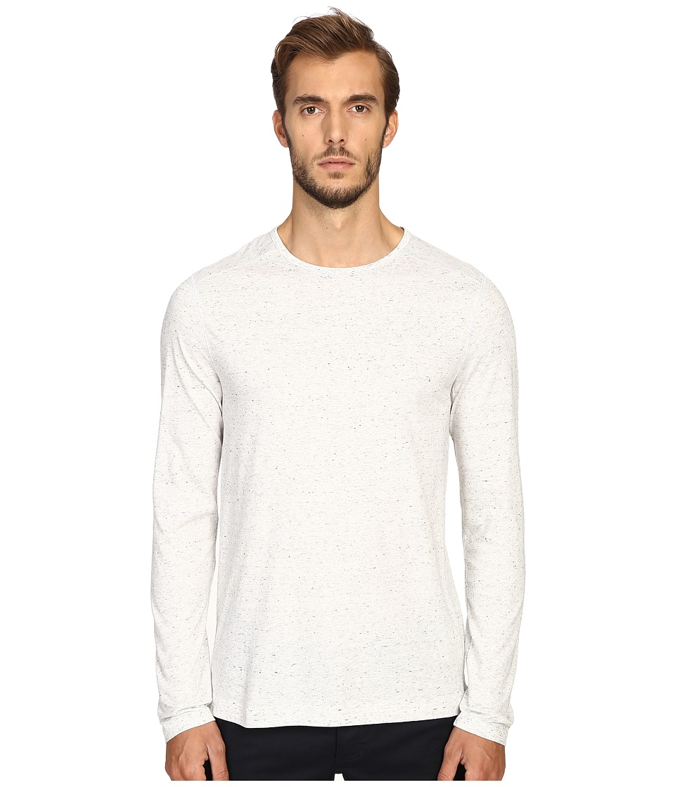 Vince - Cotton-Modal Mix-Stitch Long Sleeve Crew (Heather White/Heather White) Men's Clothing