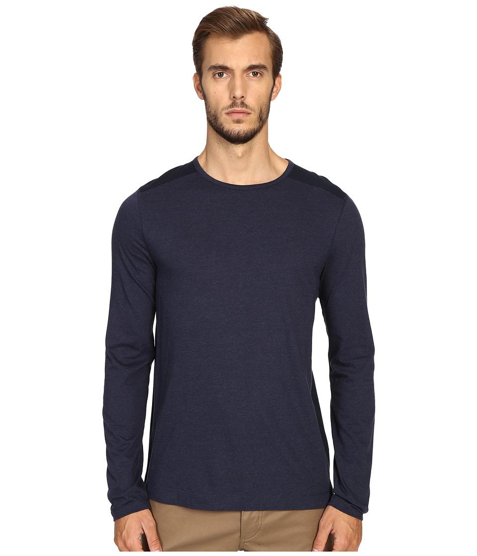 Vince - Cotton-Modal Mix-Stitch Long Sleeve Crew (Heather Coastal/Coastal) Men's Clothing