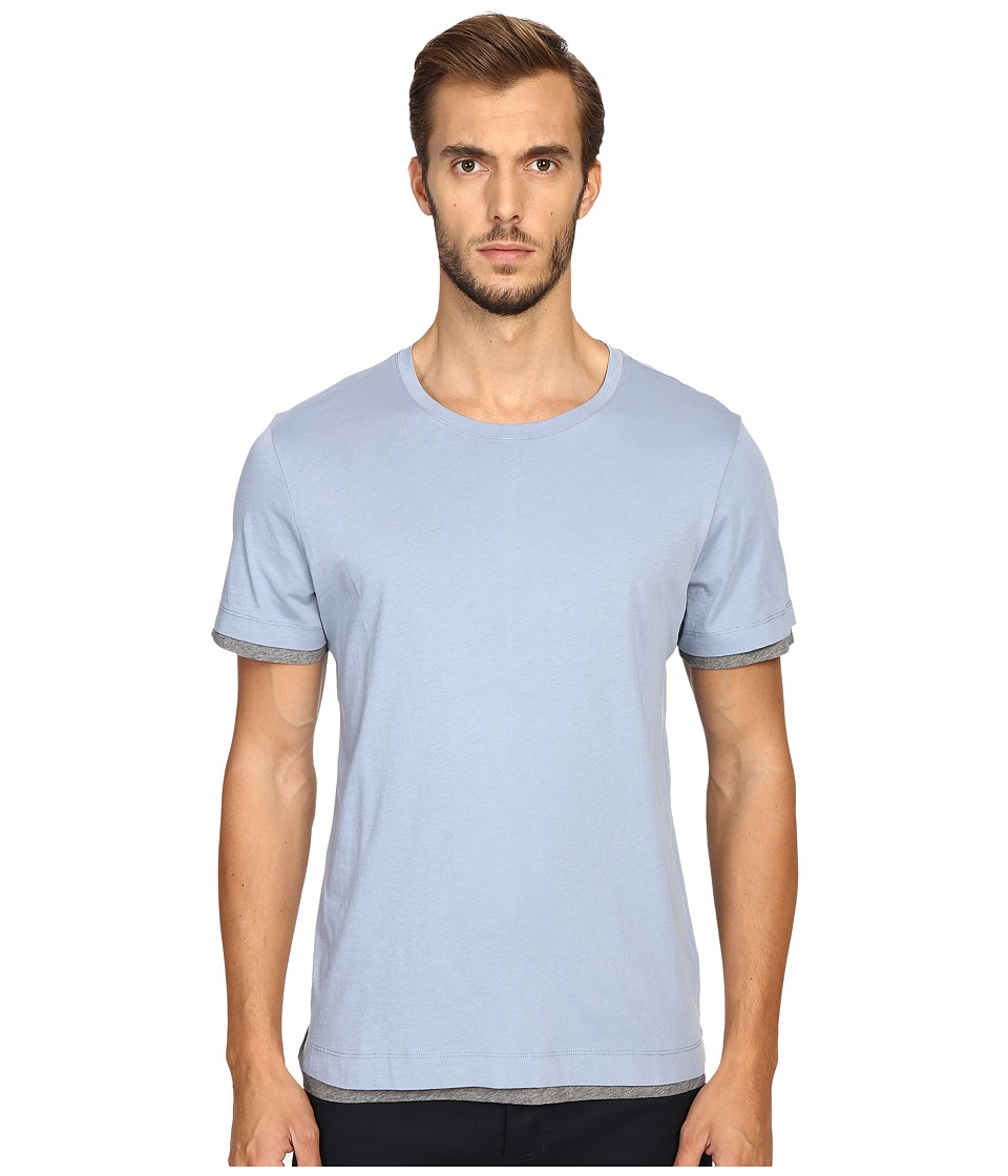 Vince - Pima Double Layer Short Sleeve Reversible Crew (Infinity Blue/Heather Cinder) Men's Clothing