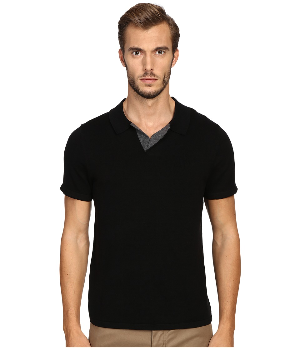 Vince - Wool Silk Jersey Short Sleeve Polo with Tipping (Black) Men's Short Sleeve Pullover