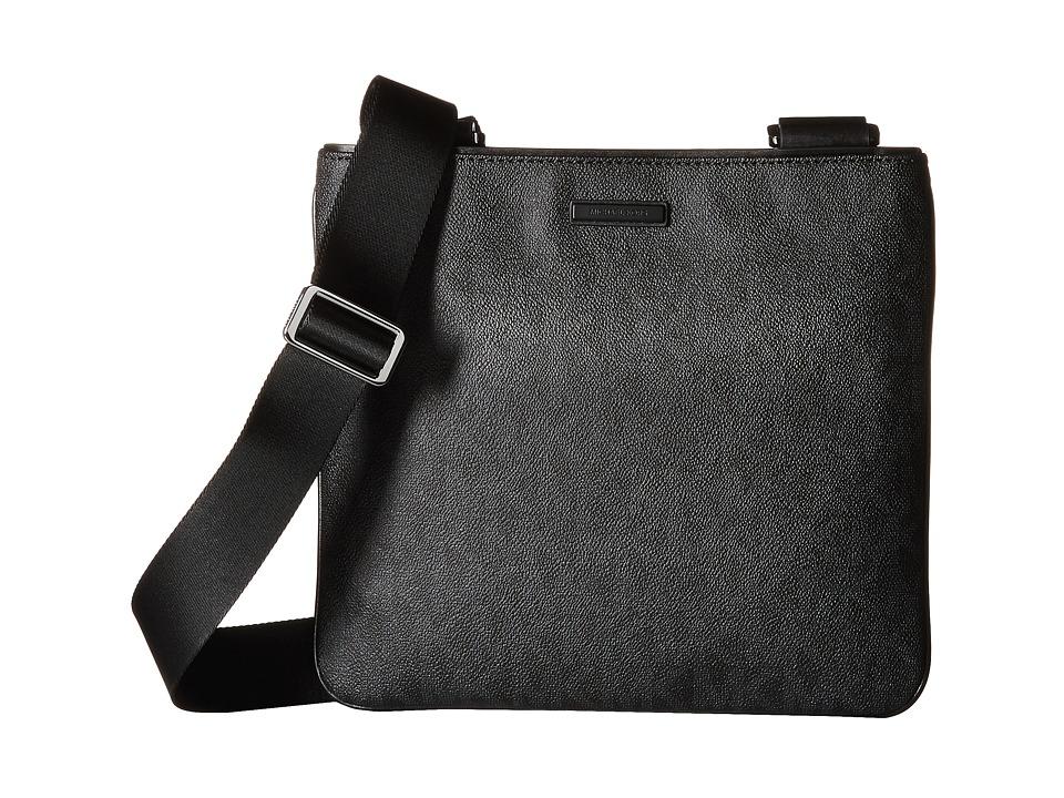 Michael Kors - Jet Set Medium Flat Crossbody (Black) Cross Body Handbags