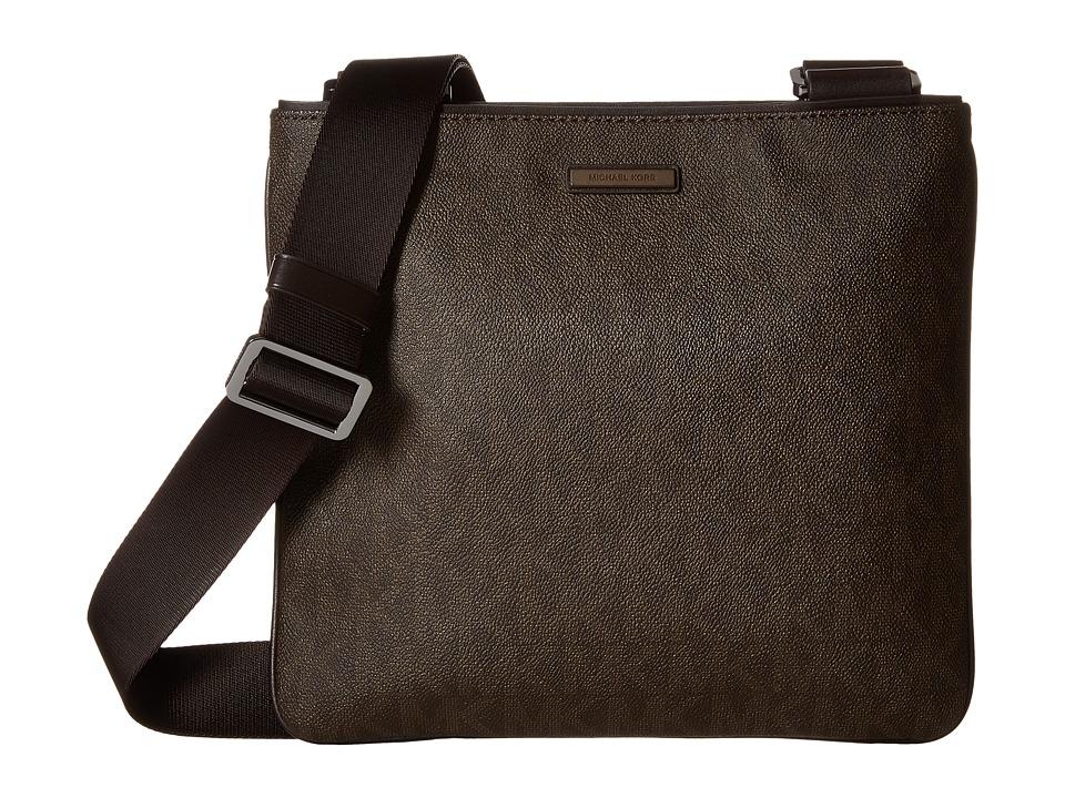 Michael Kors - Jet Set Medium Flat Crossbody (Brown) Cross Body Handbags