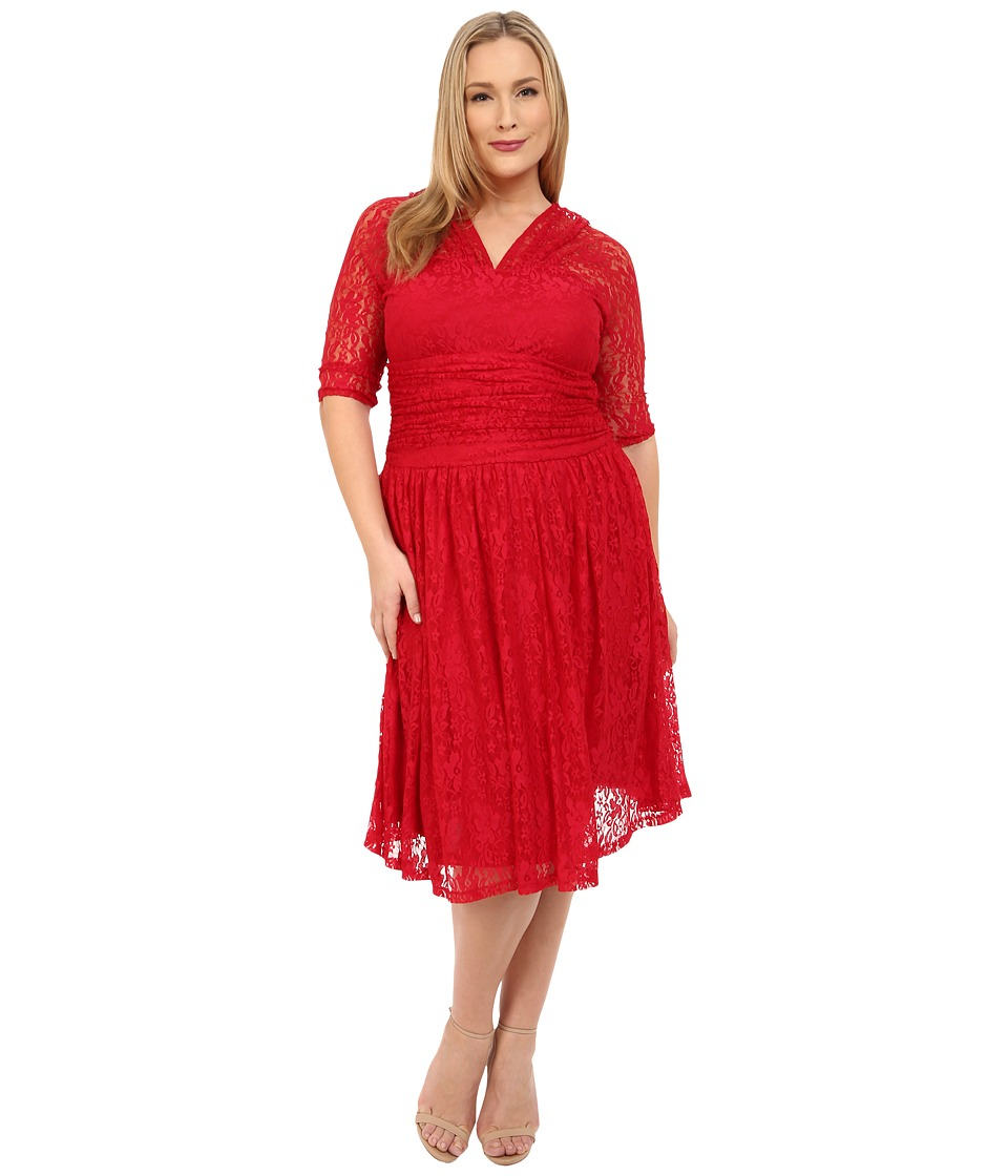 Kiyonna - Swinging Symphony Lace Dress (Classic Red) Women's Dress