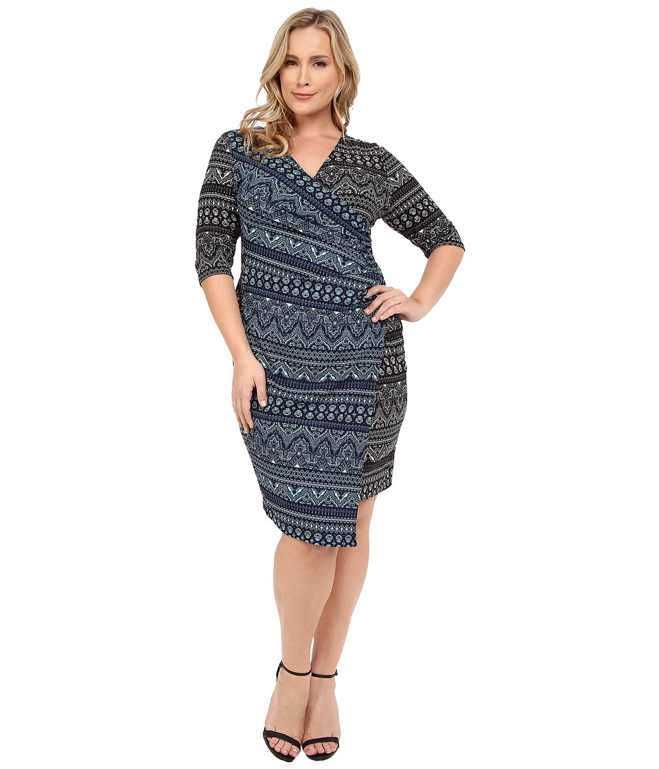 Kiyonna - Chic Cinch Faux Wrap Dress (Black/White/Navy/Mint) Women's Dress