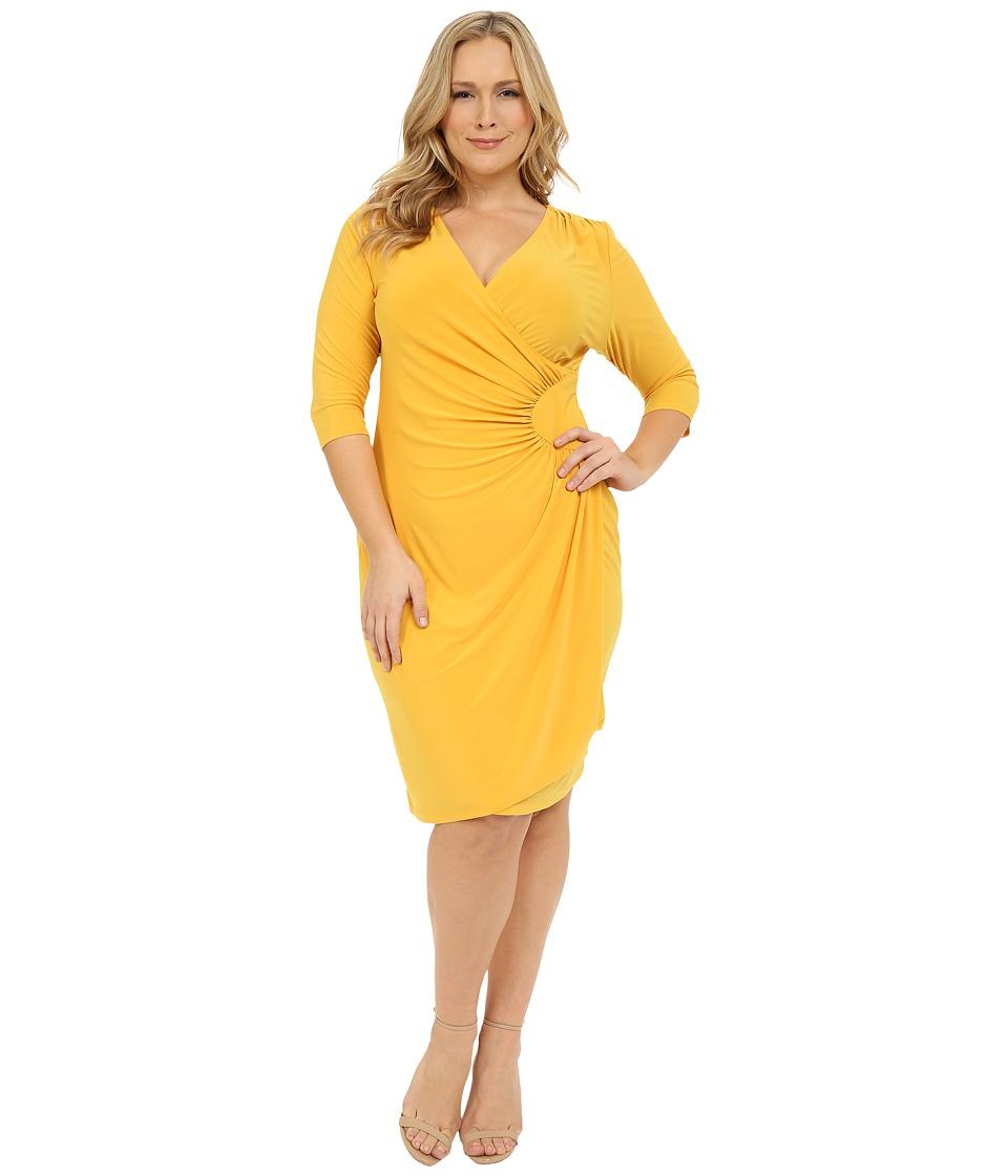 Kiyonna - Ciara Cinch Dress (Amber Yellow) Women's Dress