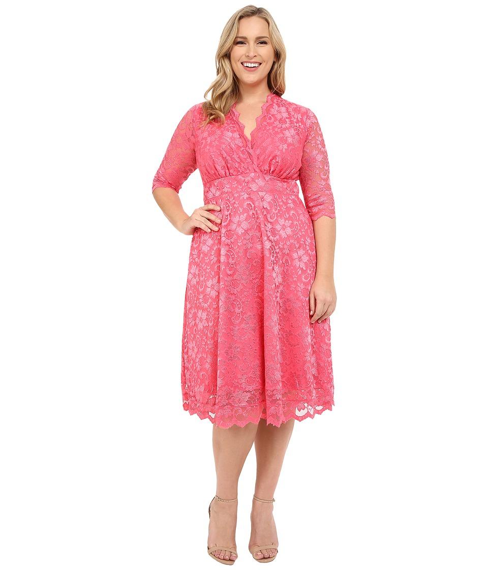 Kiyonna - Mademoiselle Lace Dress (Coral Blush) Women's Dress