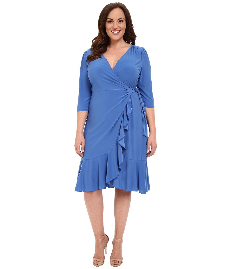 Kiyonna - Whimsy Wrap Dress (Periwinkle) Women's Dress