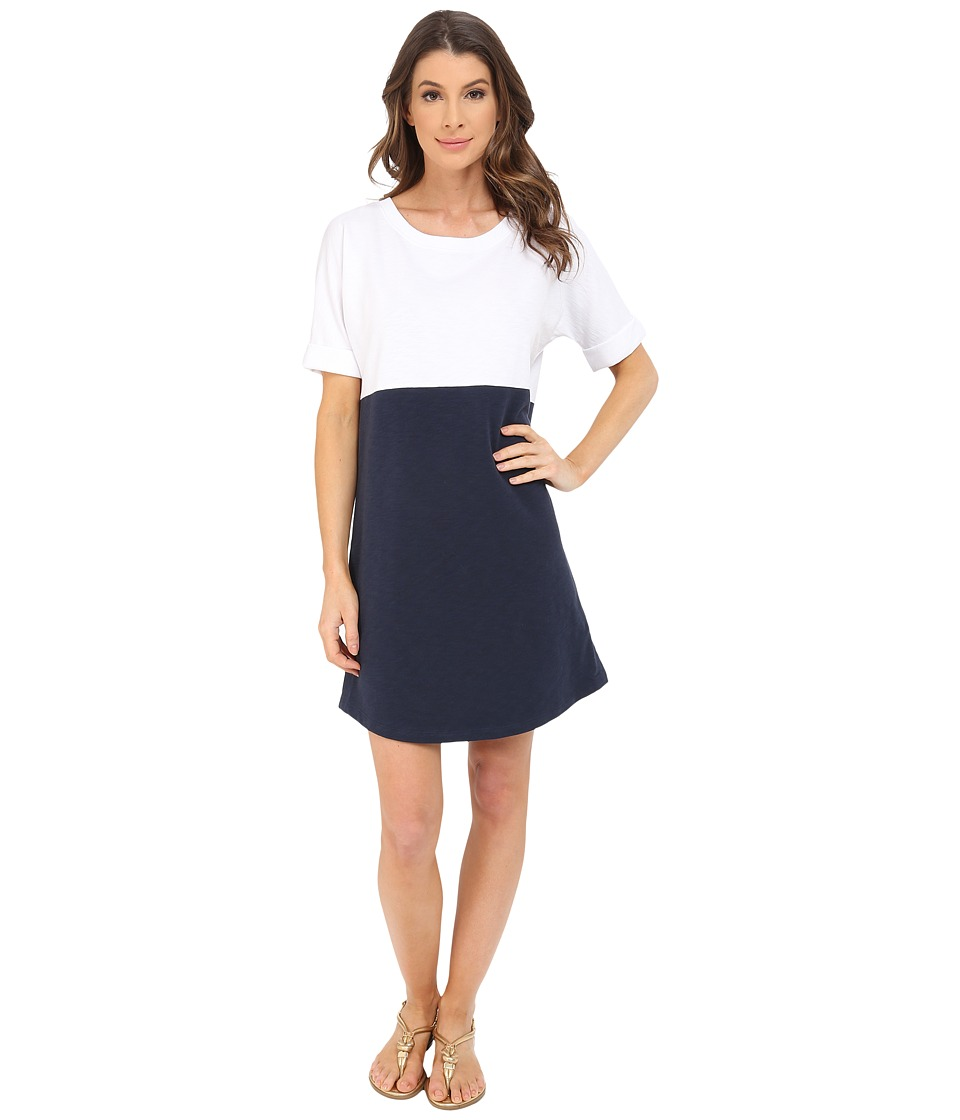 Lilla P - Flam French Terry Elbow Sleeve Dress (White/New Navy) Women's Dress
