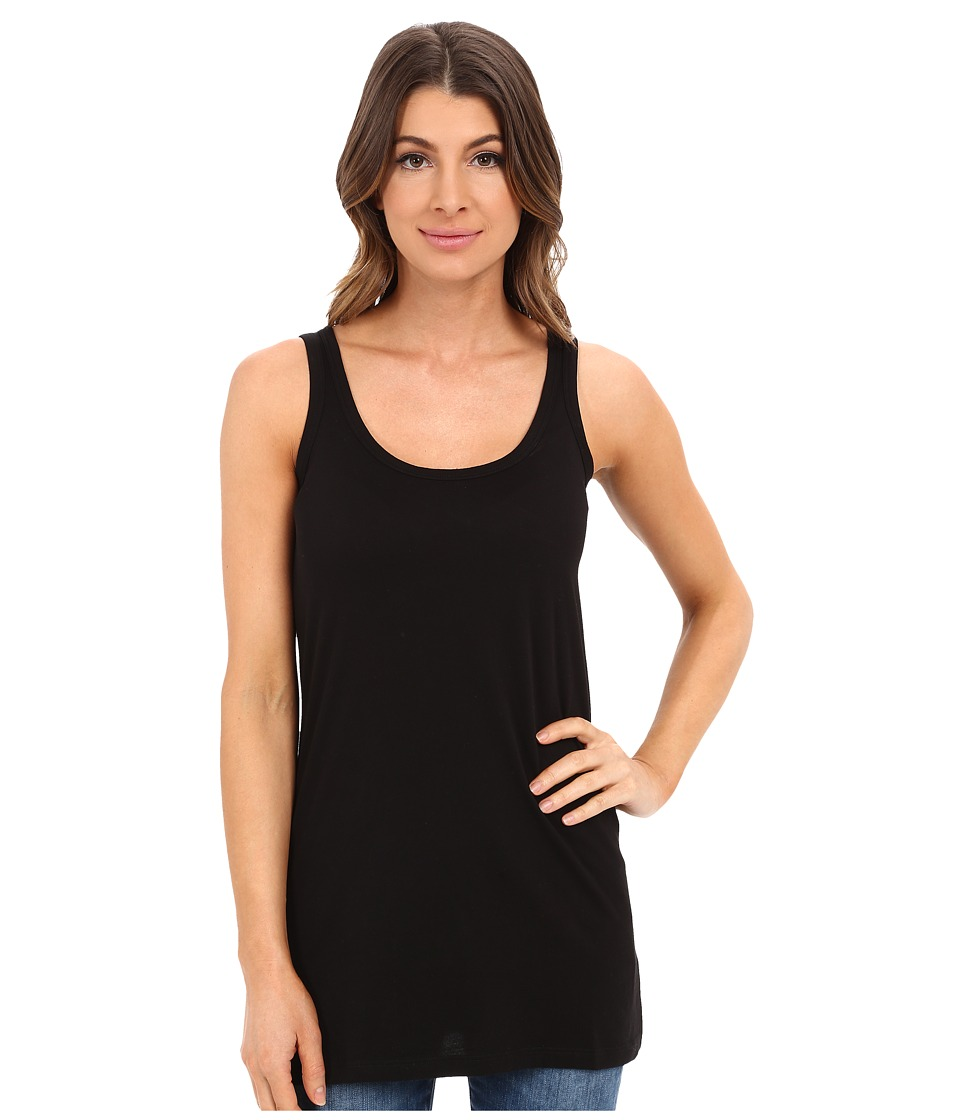 Lilla P - Layering Long Scoop Tank Top (Black) Women's Sleeveless