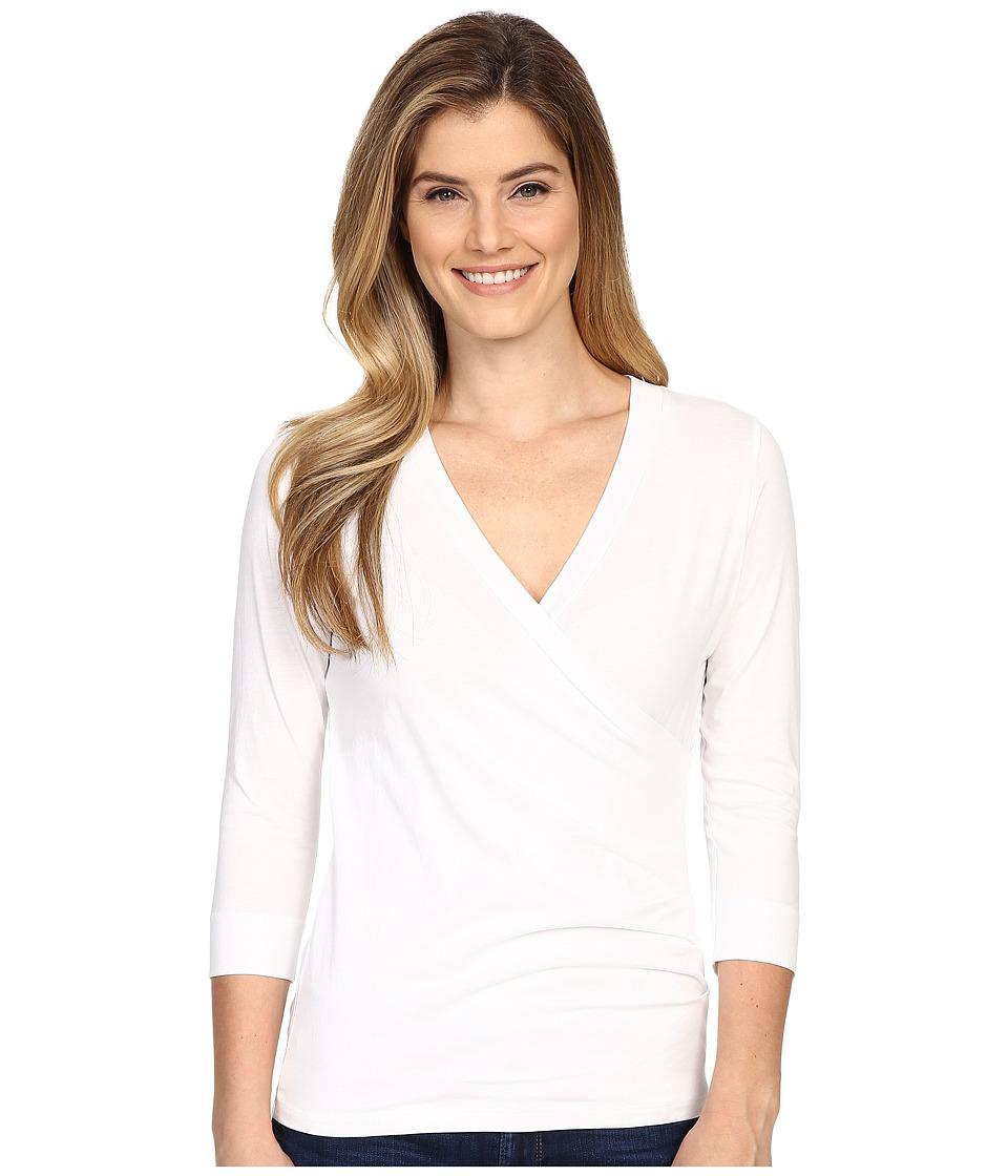 Lilla P - Pima Jersey 3/4 Sleeve Surplice (White) Women's Clothing