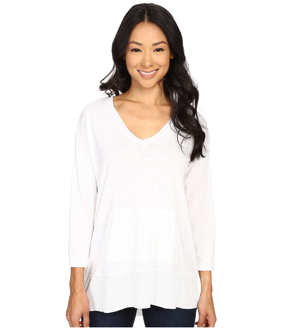 Lilla P - Pima Modal Slub 3/4 Sleeve Easy V-Neck (White) Women's Clothing