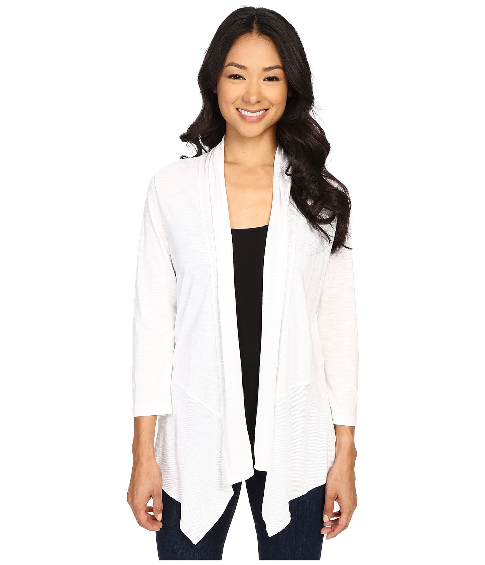 Lilla P - Pima Modal Slub 3/4 Sleeve Open Cardigan (White) Women's Sweater