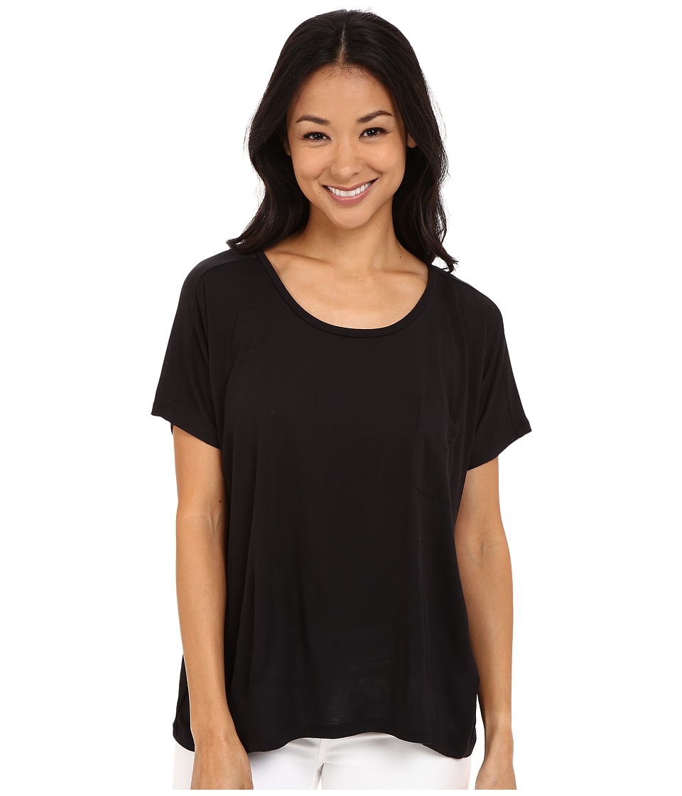 Lilla P - Warm Viscose Short Sleeve Pocket Tee (Black) Women's T Shirt