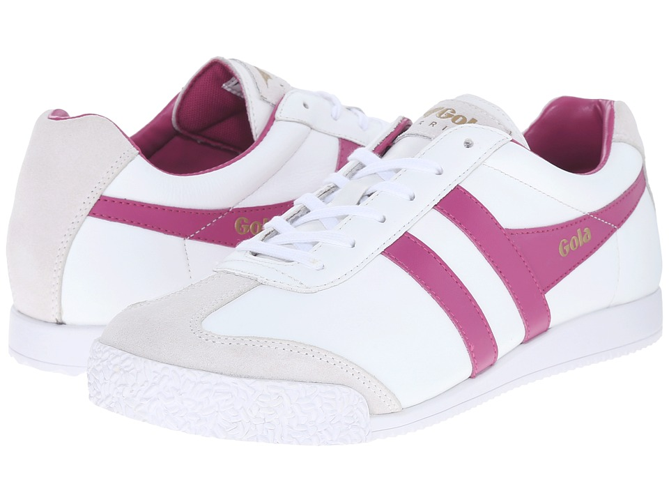 Gola Harrier Leather (White/Hot Fuchsia) Women