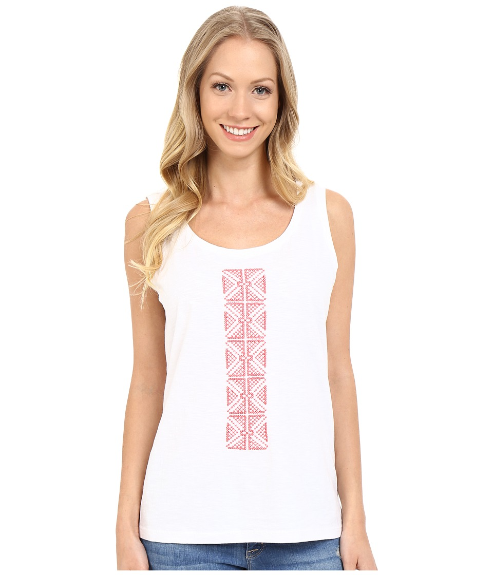 Lilla P - Embroidered Slub High-Low Tank Top (White/Lipstick) Women's Sleeveless