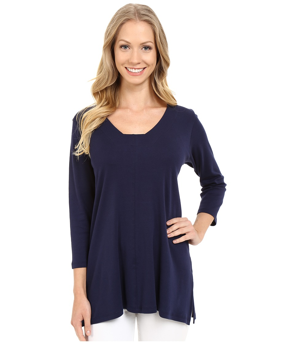 Lilla P - Fine Rib 3/4 Sleeve Swing Tunic (Peacoat) Women's T Shirt