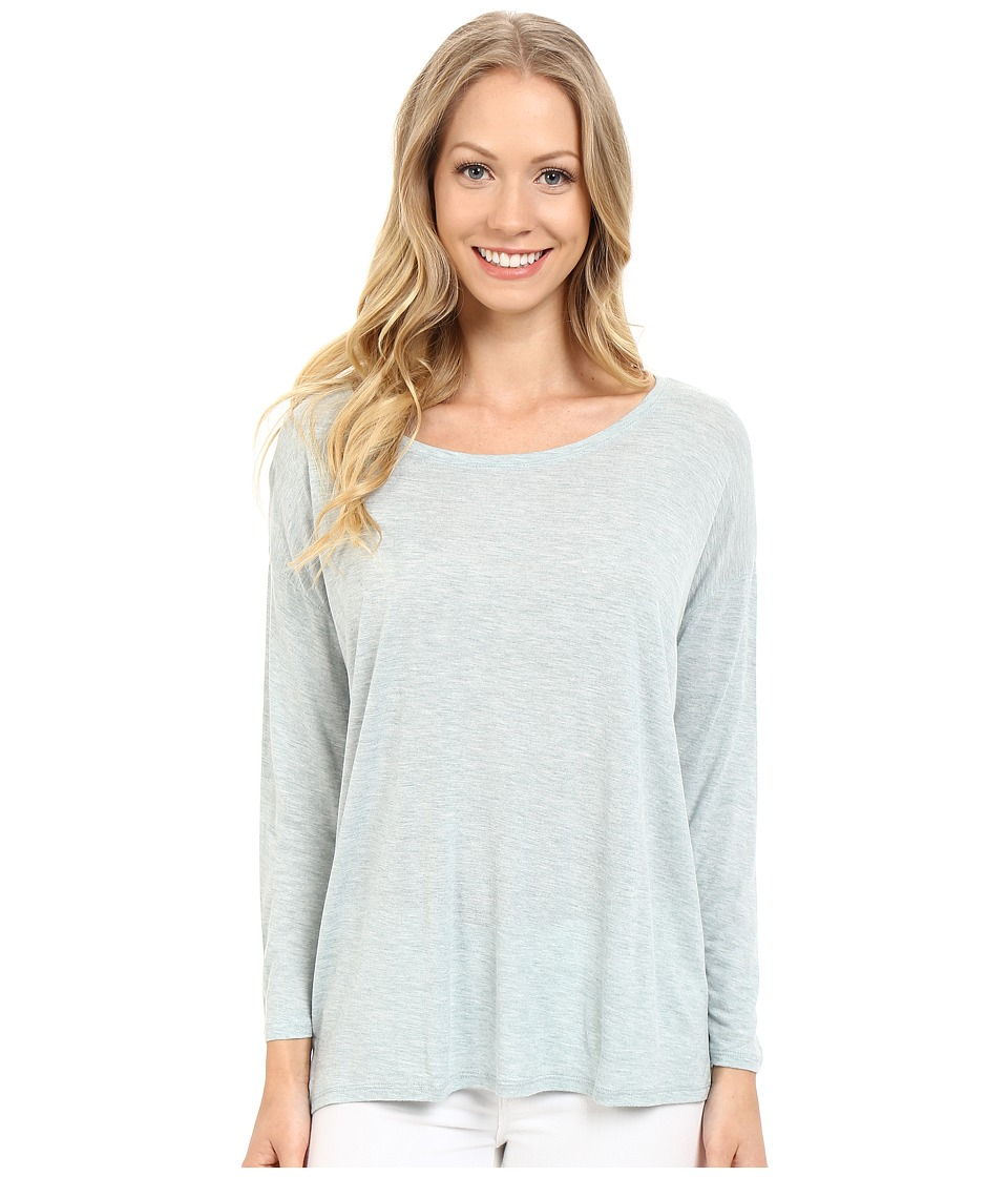 Lilla P - Soft Draped 3/4 Sleeve Boat Neck (Riverstone Heather) Women's Long Sleeve Pullover