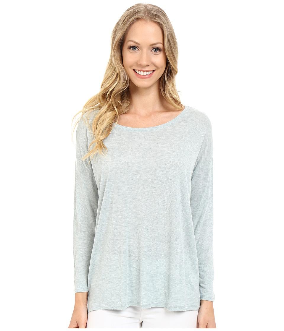 Lilla P - Soft Draped 3/4 Sleeve Boat Neck (Riverstone Heather) Women's Long Sleeve Pullover
