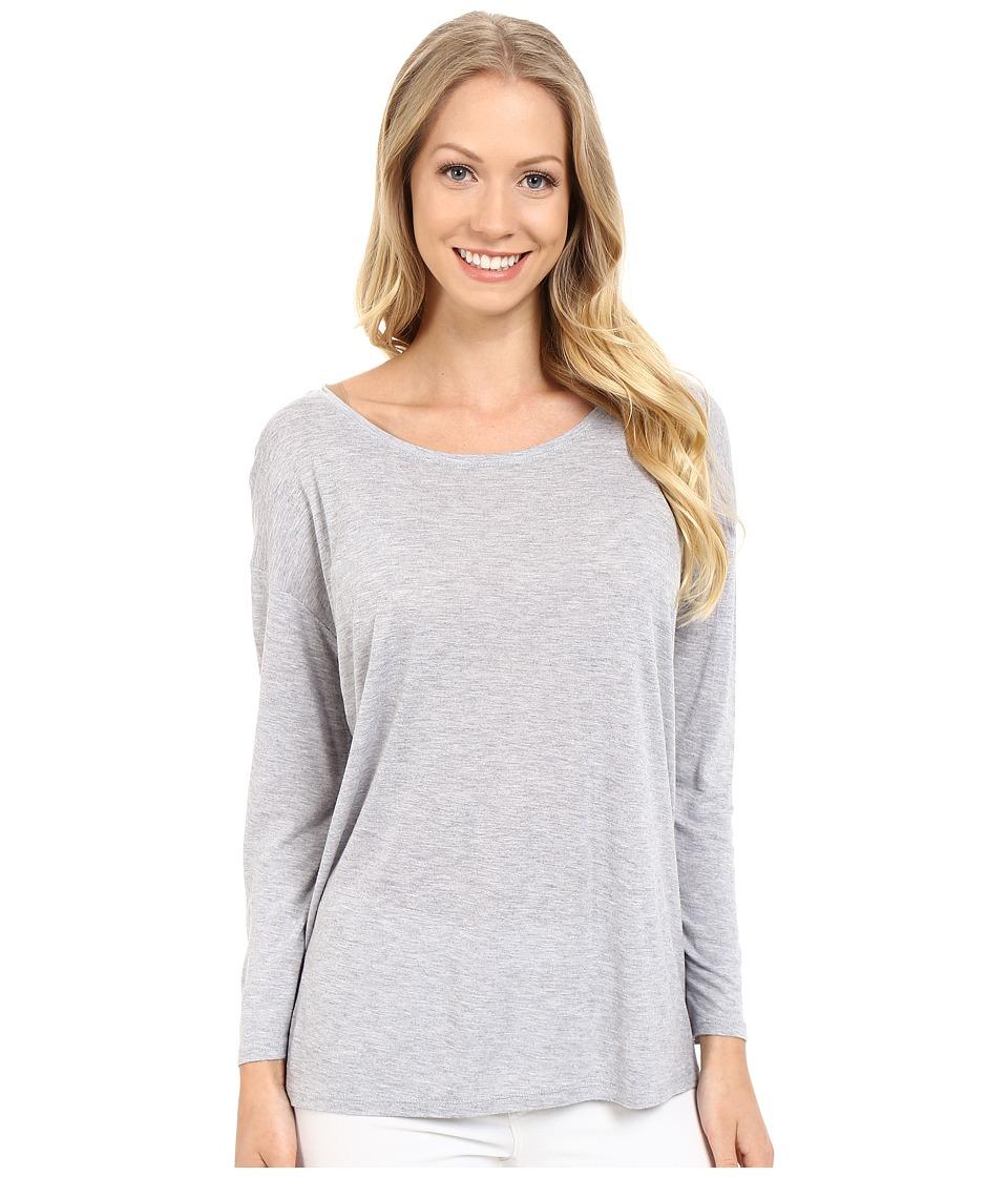Lilla P - Soft Draped 3/4 Sleeve Boat Neck (Slate Heather) Women's Long Sleeve Pullover