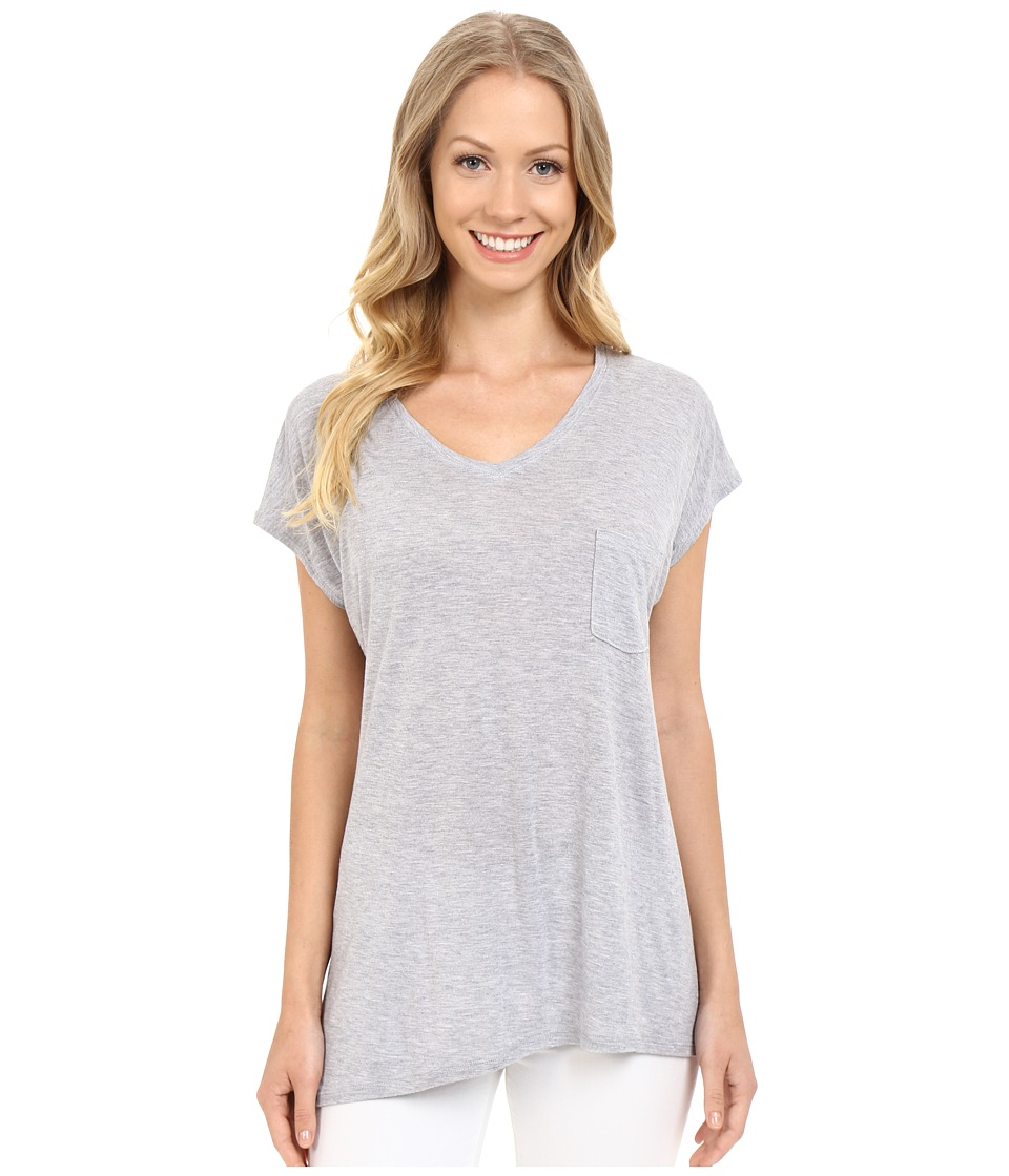 Lilla P - Soft Draped Short Sleeve Swing Top (Slate Heather) Women