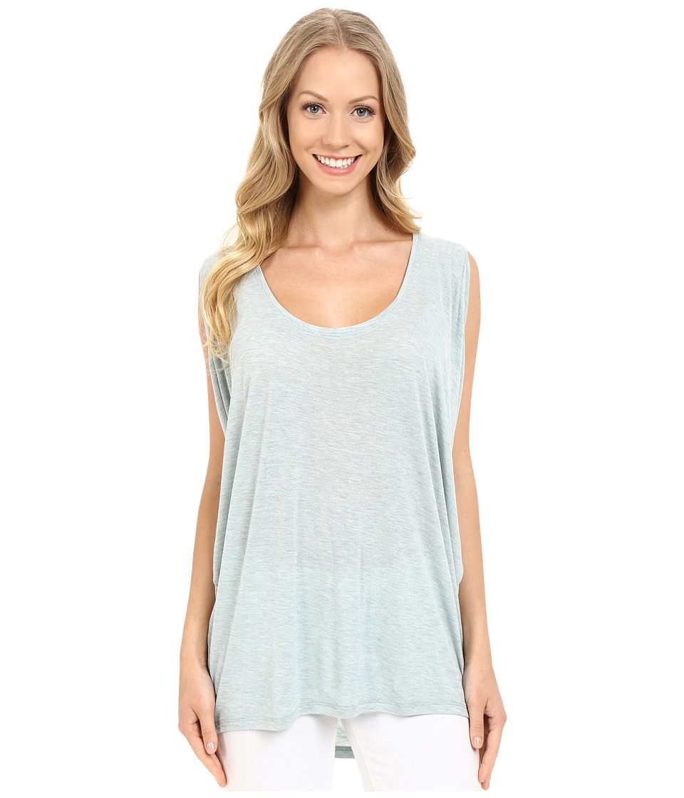 Lilla P - Soft Draped Sleeveless Side Draped Top (Riverstone Heather) Women's Sleeveless